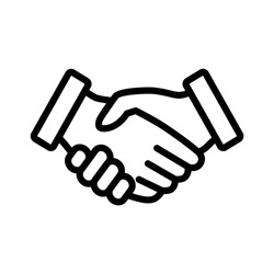 Business handshake / contract agreement line art vector icon for apps and websites