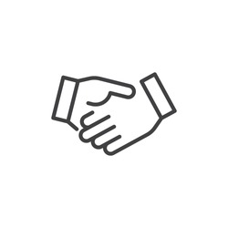 Business handshake line icon, outline vector sign, linear style pictogram isolated on white. Agreement, Shaking hands symbol, logo illustration. Editable stroke