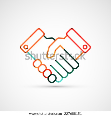 Business handshake. Line style vector illustration
