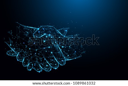 Business handshake lines and triangles, point connecting network on blue background. Illustration vector