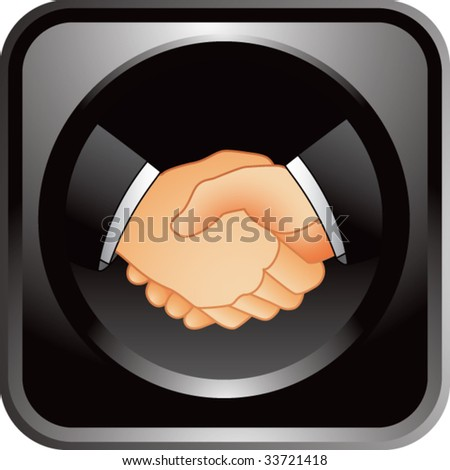 business handshake on glossy web button