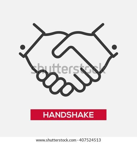 Business handshake partnership single isolated modern vector line design icon Foto stock ©