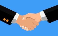 Business handshake, Shaking hands flat design concept, Handshake, business agreement, bet, partnership concepts. Two hands shaking each other. Vector illustration