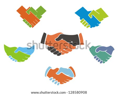 Business handshake symbols and icons set for partnership concept design or logo template. Jpeg version also available in gallery