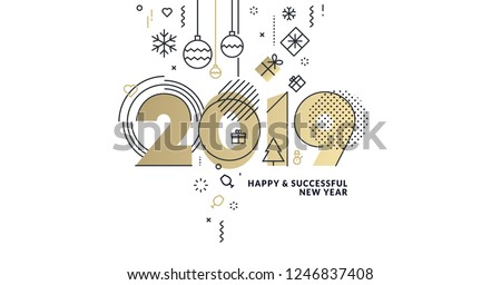 Business Happy New Year 2019 greeting card. Vector illustration concept for background, greeting card, website and mobile website banner, party invitation card, social media banner, marketing material