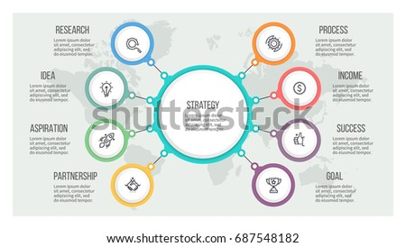 Business hierarchy infographic. Organization chart with 8 options. Vector template.