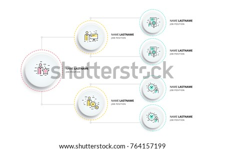 Business hierarchy organogram chart infographics. Corporate organizational structure graphic elements. Company organization branches template. Modern vector info graphic tree layout design.