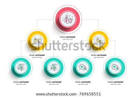Business hierarchy organogram chart infographics. Corporate organizational structure graphic elements. Company organization branches template. Modern vector info graphic tree layout design. Stock photo ©