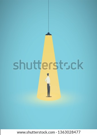 Business hiring and recruitment vector concept with businessman standing in bright yellow spotlight. Symbol of new career, headhunting, employment, new opportunity. Eps10 vector illustration.