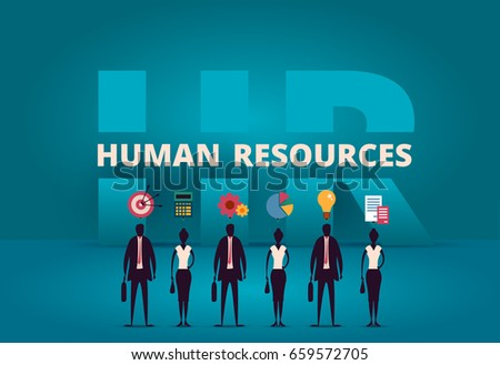 Business HR concept. Human resources manager hiring employee or workers for job. Recruiting staff in company. Organizational socialization metaphor. Acquisition or onboarding illustration.