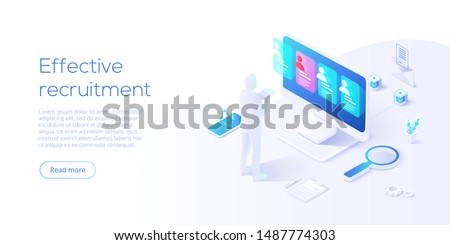 Business HR concept in isometric vector illustration. Human resources manager hiring employee or workers for job. Recruiting staff in company. Organizational socialization. Acquisition or onboarding.
