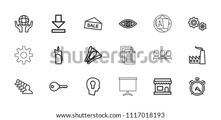 Business icon. collection of 18 business outline icons such as alarm, group, key, holding globe, store, sale, download, stapler. editable business icons for web and mobile.