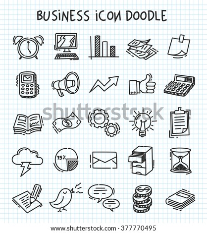 business icon in doodle style