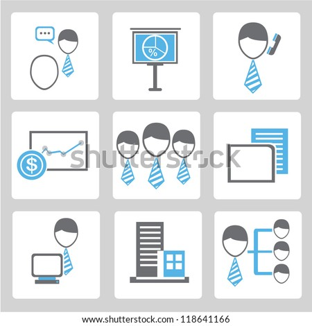 business icon, organization management, work management set
