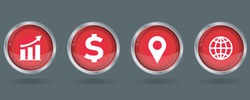 business icon set. business chart with arrow, dollar, location, globe icons. 3d round red glossy button vector icon for web, mobile app icon.