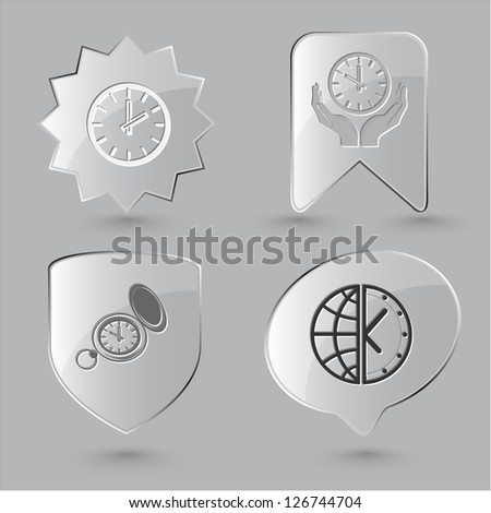 Business icon set. Clock, globe and clock, clock in hands, watch. Glass buttons.