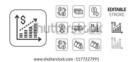 Business icon set. Financial success, currency exchange, statistics graph. Simple outline web application icons. Editable stroke. Vector illustration.