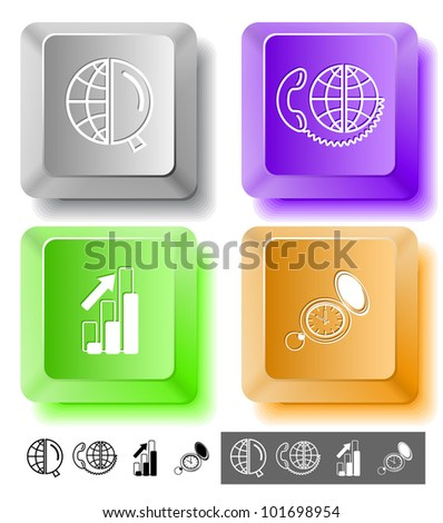 Business icon set. Global communication, watch, globe and magnifying glass, diagram. Computer keys. Vector illustration.