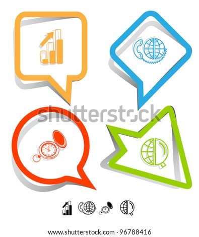 Business icon set. Global communication, watch, globe and magnifying glass, diagram. Paper stickers. Vector illustration.