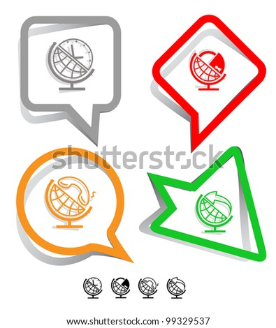 Business icon set. Globe and arrow, globe and clock, globe and lock, globe and handset.  Paper stickers. Vector illustration.