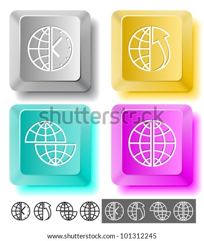 Business icon set. Globe, globe and array up, shift globe, globe and clock. Computer keys. Vector illustration.