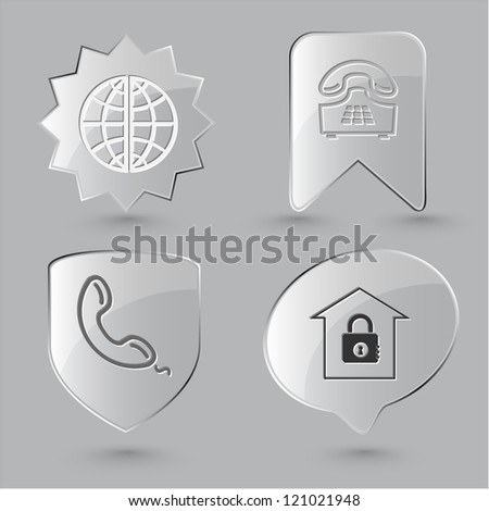 Business icon set. Globe, handset, push-button telephone, bank.  Glass buttons.