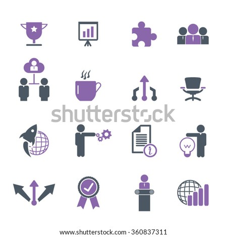 Business Icon set - Gray and purple flat icon set