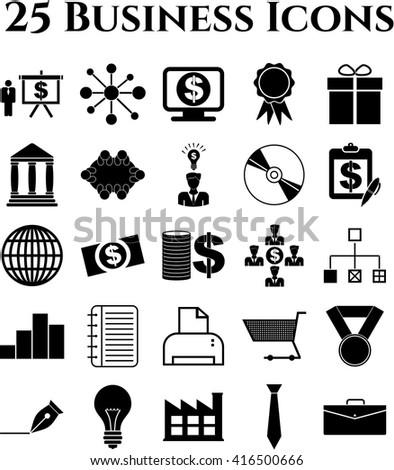 business icon set. 25 icons total. Minimal Modern.