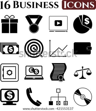 business icon set. 16 icons total. Minimal Modern.