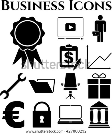 business icon set. 13 icons total. Minimal Modern.