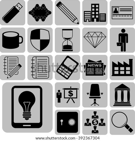 business icon set. 22 icons total. Quality Icons.