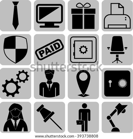 business icon set. 16 icons total. Quality Icons.