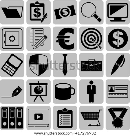 business icon set. 25 icons total. Quality Icons.