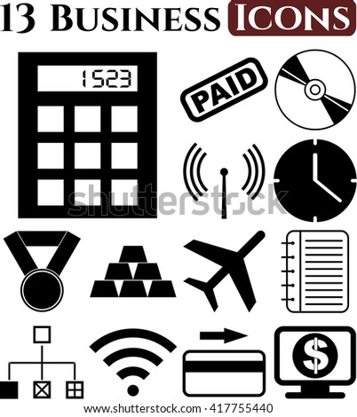 business icon set. 13 icons total. Quality Icons.