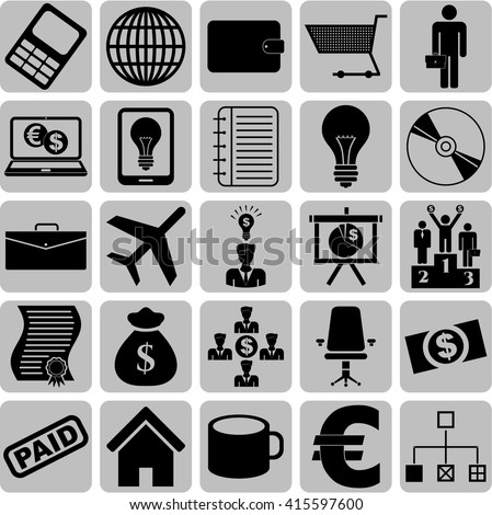 business icon set. 25 icons total. Set of web Icons.