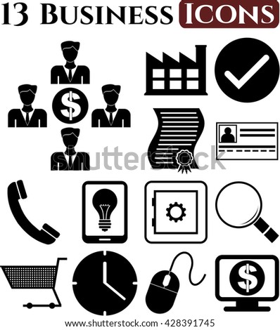 business icon set. 13 icons total. Set of web Icons.
