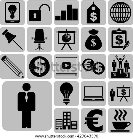 business icon set. 22 icons total. Set of web Icons.