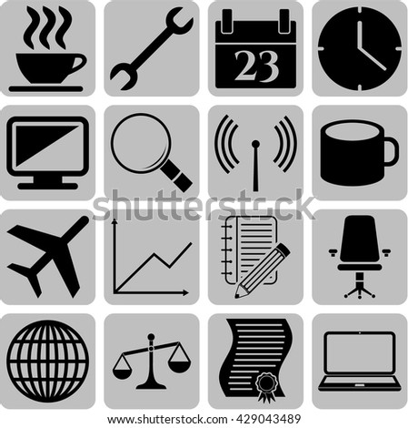 business icon set. 16 icons total. Set of web Icons.