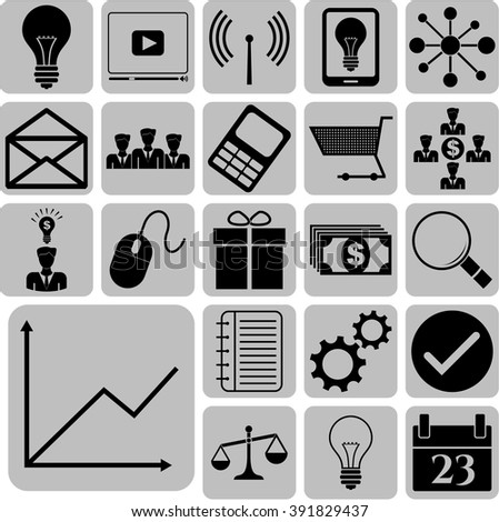 business icon set. 22 icons total. Universal and Standard Icons.