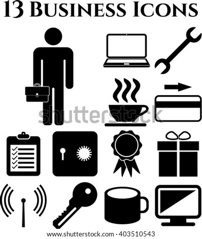 business icon set. 13 icons total. Universal and Standard Icons.