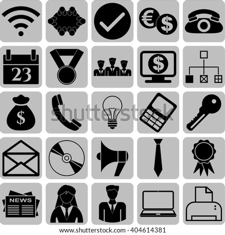 business icon set. 25 icons total. Universal and Standard Icons.