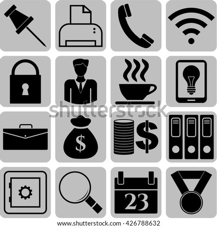 business icon set. 16 icons total. Universal and Standard Icons.