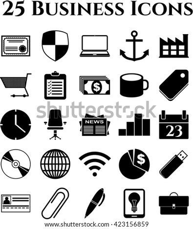 business icon set. 25 icons total. Universal Modern Icons.