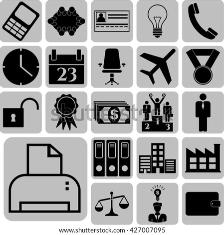 business icon set. 22 icons total. Universal Modern Icons.