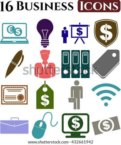 business icon set. 16 icons total. Universal Modern Icons.