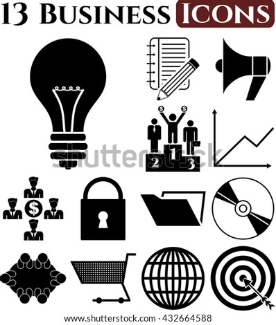 business icon set. 13 icons total. Universal Modern Icons.