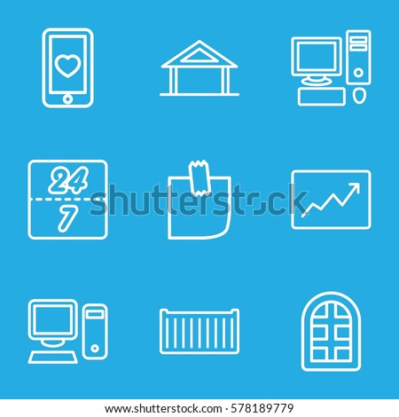business icon set of 9
