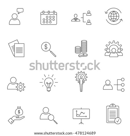 Business icon set outline vector illustration #478124689