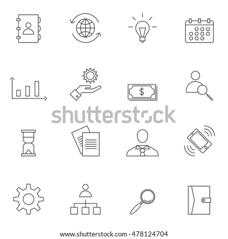 Business icon set outline vector illustration #478124704