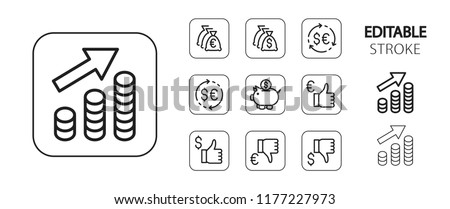 Business icon set. Saving money, coins, piggy bank, currency exchange, finance options. Simple outline web application icons. Editable stroke. Vector illustration.